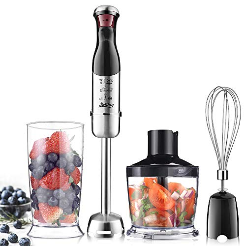 Betitay 4-in-1 Immersion Hand Blender Mixer,Electric Food Processor,Stepless Speeds for Smoothies,Vegetable,Meat and Baby Food with Safety Lock,Include Food Chopper,Mixing Beaker and Egg Whisk