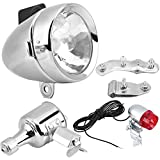 Estink Headlight TailLight Kit, 12V 6W Friction Generator Dynamo Lamp for Bicycle Motorized Bike