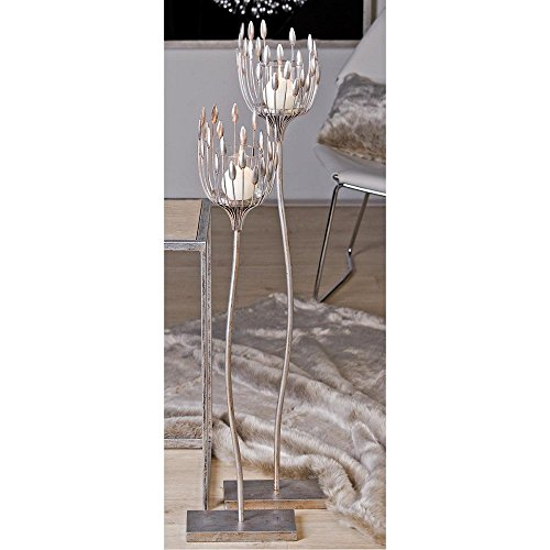 Bodenleuchter, Kerzenhalter TREVI, Metall, silber, H. 93 cm, Casablanca