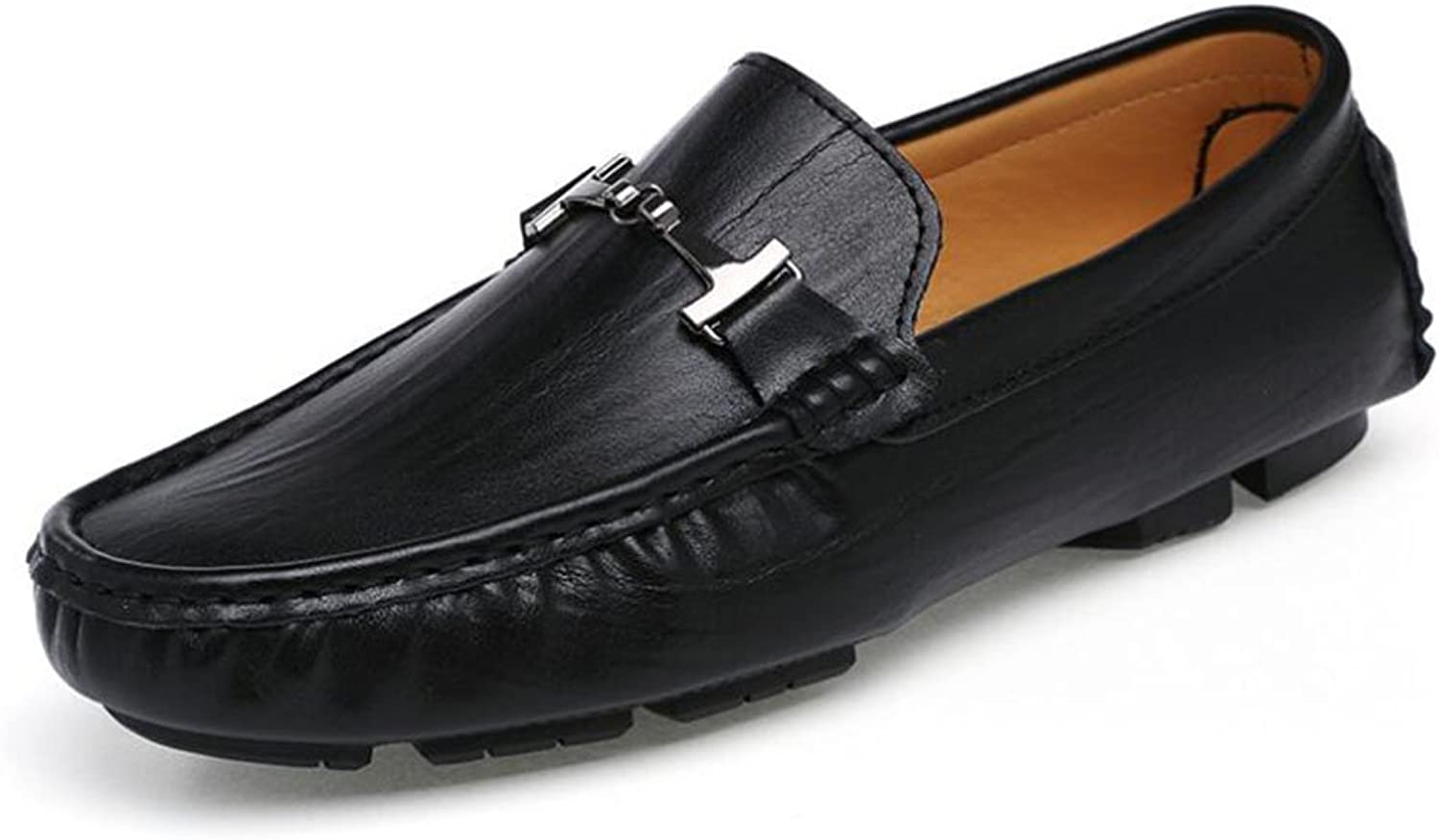 Men's Genuine Leather Loafers Spring Fall New Lazy shoes Mens Comfort Boat shoes Driving shoes Daily Office   Casual (color   Black, Size   40)