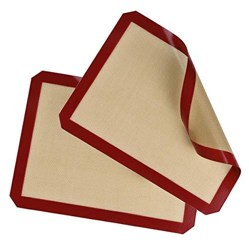 Belmalia 2X Silikon Backmatte mit Fiberglas, Back-Unterlage für Backblech, Backpapier, 40x30cm Rot Braun