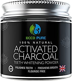Activated Charcoal Natural Teeth Whitening Powder by Ecco Pure   Efficient Alternative to Charcoal Toothpaste, Strips, Kits, Gels