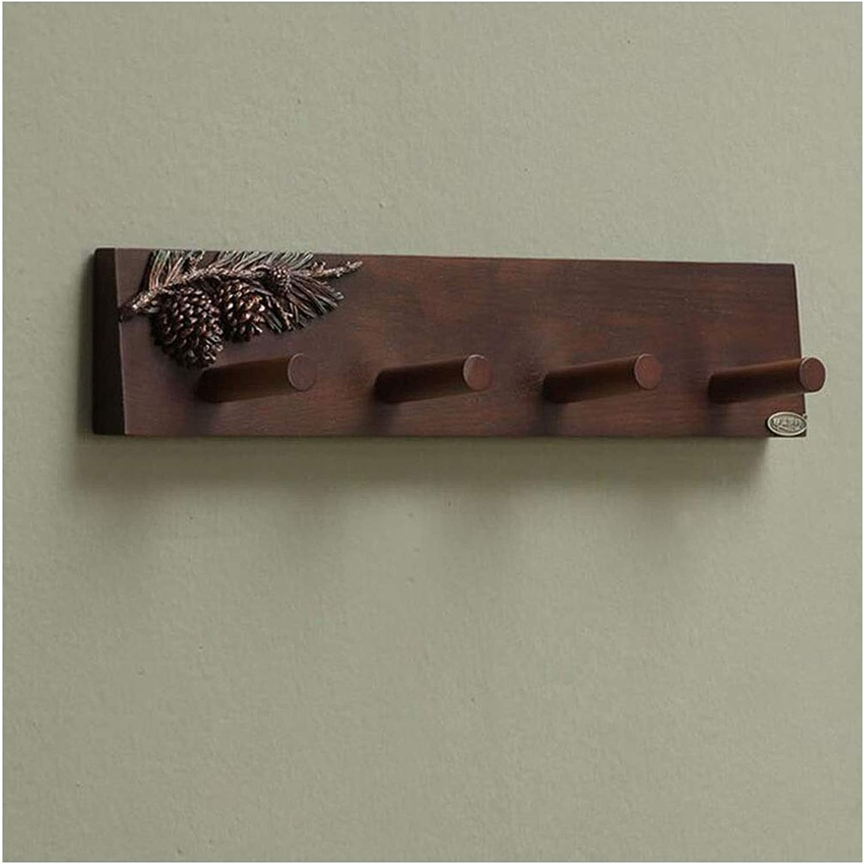 Vintage Solid Wood Coat Rack, Wall Hanging Simple Porch Hanger, Bedroom Solid Wood Clothes Hat Hook -48  9.6cm