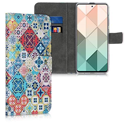 kwmobile Hülle kompatibel mit Samsung Galaxy A51 - Kunstleder Wallet Hülle mit Kartenfächern Stand Marokkanische Fliesen bunt Blau Rot Hellbraun