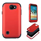 LG K3 Case,JMcase Full-body 3 IN 1 Heavy Duty Bumper Protective Case Cover(Red) Fit for LG K3(2017),Sent Stylus