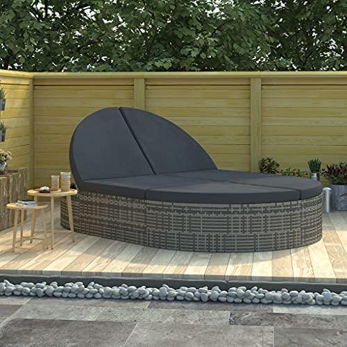 Lounge, Sofa & Bett aus Polyrattan, 2er Garten-Sofa mit Stahl-Gestell, Daybed,Outdoor-Lounge-Bettmit Auflagen Poly Rattan Grau