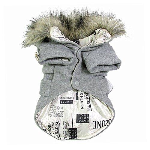 Chinatera Winter Warm Haustier Luxus Jacke Overall Hosen Hund Kleidung (Grau, M) - 5