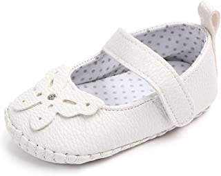 Lidiano Baby Girl Soft Rubber Sole Non Slip Mary Jane Sandles Toddler Slippers Shoes Loafers 0-18 Months (6-12 Months, White Butterfly)