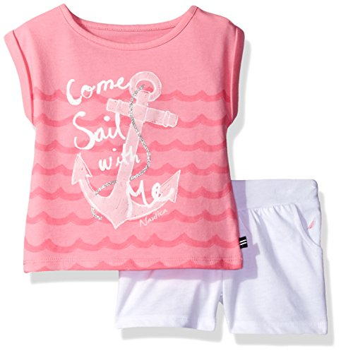 Nautica Baby Girls' Graphic Tee with Fashion Short Set, Light Pink, 12 Months