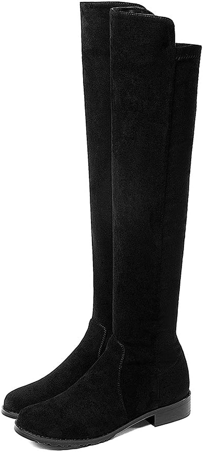 Women's Black Knee-high Boots Slip On Low Square Heel Round Toe Leisure Stretchy Riding Ladies Sexy Winter Boots