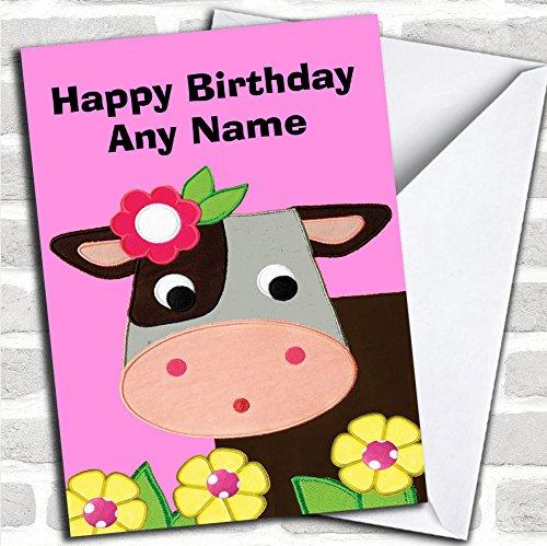 Roze schattige koe verjaardagskaart met envelop, kan volledig worden gepersonaliseerd, snel en gratis verzonden