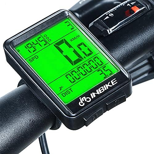 KLFD Computadora para Bicicleta Velocímetro para Bicicleta Inalámbrico, Pantalla LCD Impermeable con...