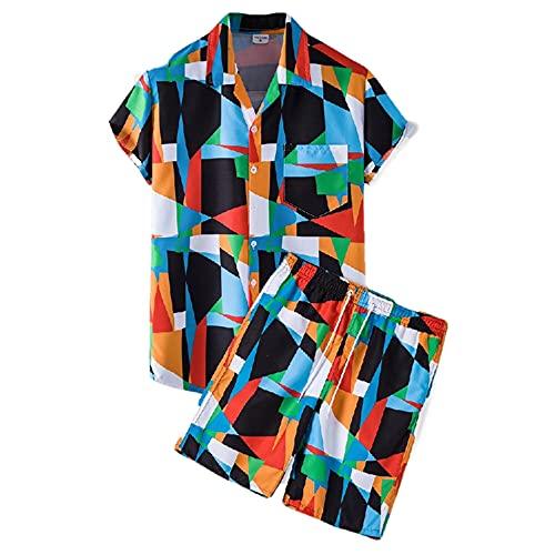 Conjunto De Playa Hombre Manga Corta Transpirable Verano Hombre Conjunto Básico Botones Bolsillos Hombre Shirt con Cordones Modernas Hawaii Hombre Shirt Pantalones Cortos I-TZ59 3XL