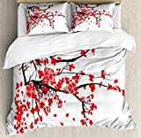Ambesonne Floral Duvet Cover Set, Japanese Cherry Blossom Sakura Blooms Branch Spring Inspirations Print, Decorative 3 Piece Bedding Set with 2 Pillow Shams, Queen Size, Vermilion White