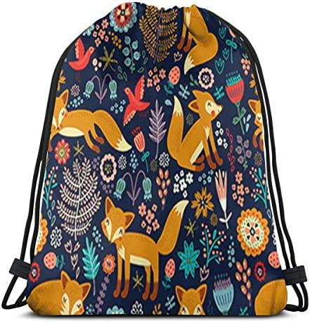 MSGUIDE Unisex Fox Pattern Drawstring Backpack Bag Polyester Cinch Sack Waterproof Sport Gym product image