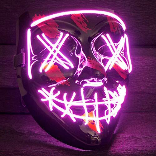 Balinco LED Purge Maske mit 3 Blitzmodi - perfekt geeignet als Techno DJ   Halloween   Karneval   Fasching als Ergänzung zum Horror Kostüm (Pink)