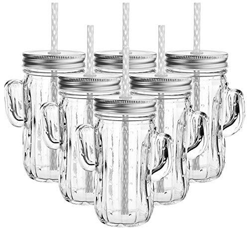 My-goodbuy24 Trinkgläser Trinkbecher - 6er Set Kaktus-Glas siber - mit Henkel und Strohhalm - große Auswahl - 350ml - in verschiedenen Designs - Trinkglas - Cocktail Glas - Gläser