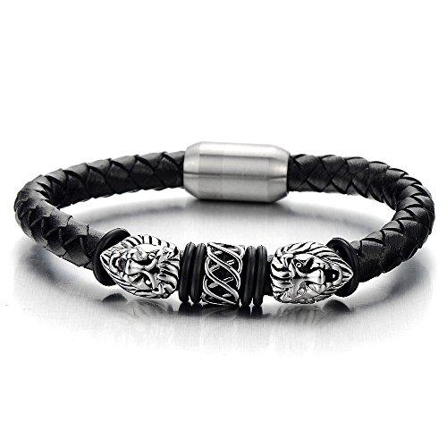 COOLSTEELANDBEYOND Löwe Lederarmband Herren Armband Schwarz Leder Armreif mit Edelstahl Magnetverschluss