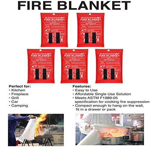 AOOHOOA Fire Blanket Fiberglass Emergency Fire Safety Blankets Flame Retardant Protection for Kitchen,Camping,Fireplace,Grill,Car,RV,Boat (39'' x 39'')