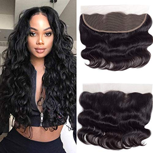 """Free Part Ear To Ear 13x4"""" Lace Frontal Closure Body Wave With Baby Hair Unprocessed Brazilian Virgin Best Remy Real Human Hair Front Closures Top Extensions Natural Color (14 Inch, 13x4 lace Frontal)"""