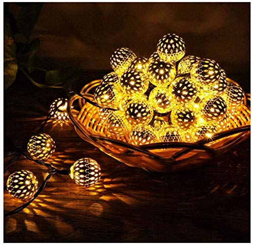 Luces solares con forma de bola marroquí Luces de cadena LED Luces solares de paisaje solar al aire libre para jardín Fiesta Árbol Decoración de boda Lámparas colgantes