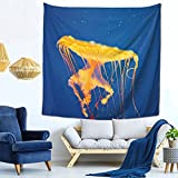 Tapices Medusas Acuario Nacional Baltimore Fondo Azul Decoración de la Sala de Arte Impresión Tela Para Sala Dormitorio Tapices 59 x 59 pulgadas