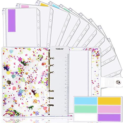 A6 Binder Cover and 12 Clear Envelopes, Budget Binder with Cash Envelopes for Budgeting, Binder Pockets Cash Envelope Wallet, Budget Planner Organizer, Cash Envelope Binder with Budget Envelopes Pink