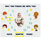 SHELLBOBO Baby Monthly Milestone Blanket for Baby Photo Taken | May The Force Be with You Baby Blanket for Kids