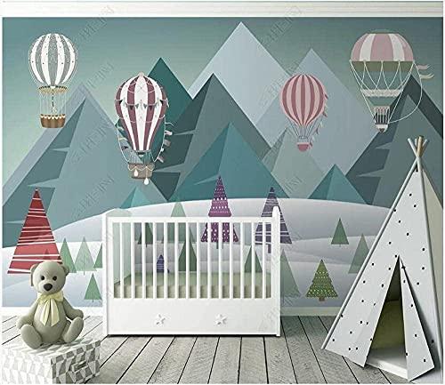 Carta da parati disegnata a mano geometrica della montagna della palla della sfera dell'idrogeno Camera per bambini Carta da parati fotomurali poster murale Soggiorno camera letto carta-150cm×105cm