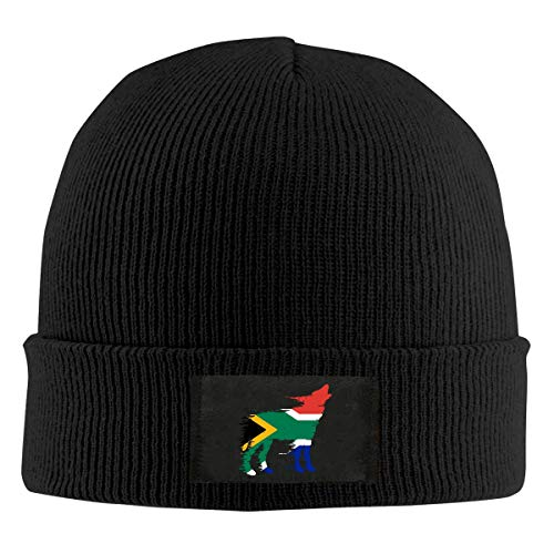 XCNGG Gorro Jersey de Lana Unisex Mens and Womens South African Flag Wolf Knitting Hat,Winter Warm Beanies Cap