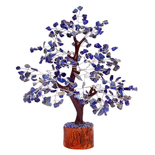 FASHIONZAADI Lapis Lazuli Gemstone Money Tree Natural Feng Shui Bonsai Healing Crystals Reiki Chakra Good Luck Table Décor Crystal Size 10-12 Inch (Silver Wire)