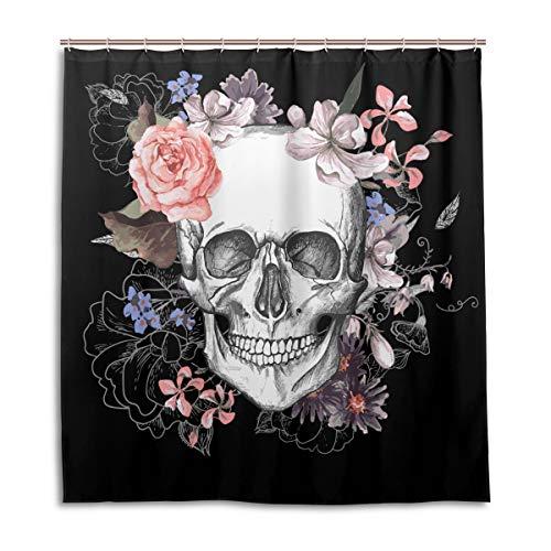 CPYang Duschvorhänge Tag der Toten Blumen Totenkopf Wasserdicht Schimmelresistent Bad Vorhang Badezimmer Home Decor 168 x 182 cm mit 12 Haken