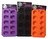 Halloween Flexible Silicone Ice Cube Mold Trays (Set Of 3) Skulls Spiders Pumpkins