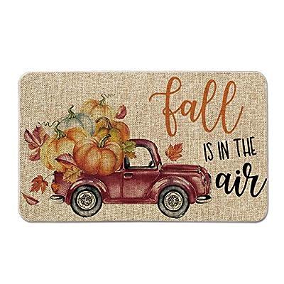 Artoid Mode Fall is in The Air Pumpkin Truck Throw Decorative Doormat, Autumn Thanksgiving Harvest Vintage Rustic Low-Profile Floor Mat Switch Mat for Indoor Outdoor 17 x 29 Inch