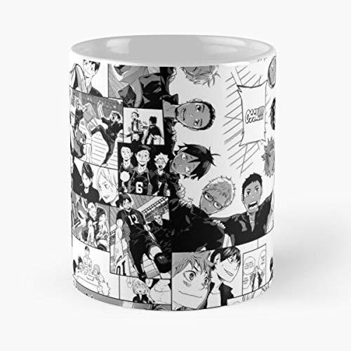 FashionNut Haikyuu Karasuno Collage Mug La Mejor Taza de café de cerámica de mármol Blanco de 11 oz