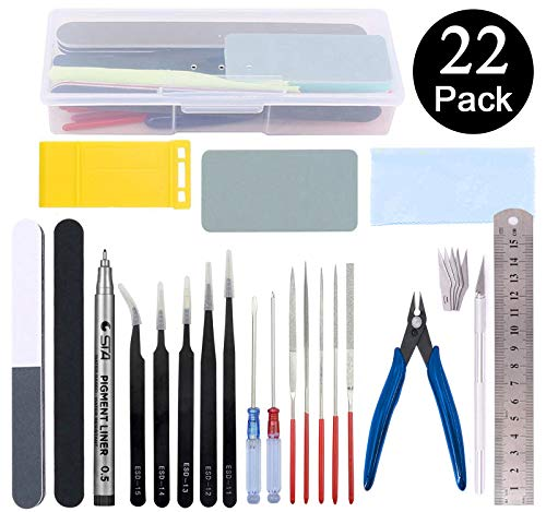 Esoca Gundam Model Tools Kit 22Pcs Gunpla Tool Kit Gundam Modeler Basic Tools for Gundam Bandai Hobby Building Assembling