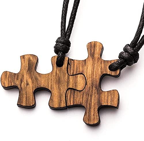 Collar treeforce puzzle pareja collar llavero o remolque de coche 3 en 1 joyería de bricolaje cobre roble