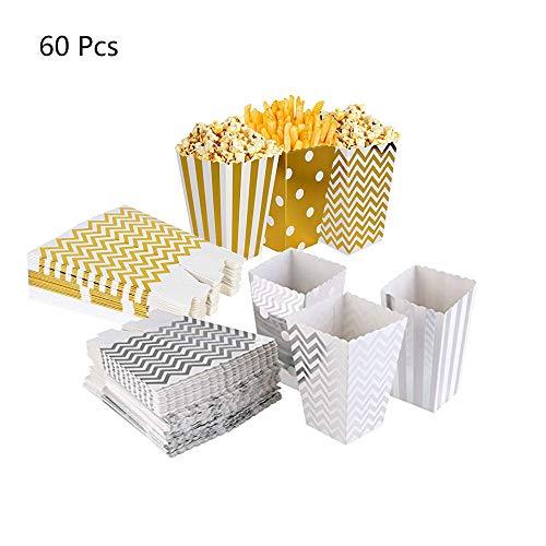 60Pcs Cajas de Palomitas de maíz, envases de Caramelos de cartón, Los Bocados del Partido, Las Palomitas y Los Regalos Bolsas de Fiesta, contenedores para el Regalo de Boda de Cumpleaños, 11.5x7cm