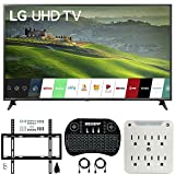 LG 65UM6900 65-inch 4K UHD Smart TV with TruMotion 120 (2019) Bundle with Deco Mount Flat Wall Mount Kit, Deco Gear Wireless Backlit Keyboard and 6-Outlet Surge Adapter with Night Light