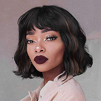 Civrie Hair Short Curly Wavy Bob Wigs for Women Black Wig with Bangs Shoulder Length Synthetic Cosplay Party Wigs for Women