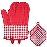 esonmus Ofenhandschuh Topfhandschuhe Silikon + Baumwolle 1 Paar + 2 Topflappen Rot