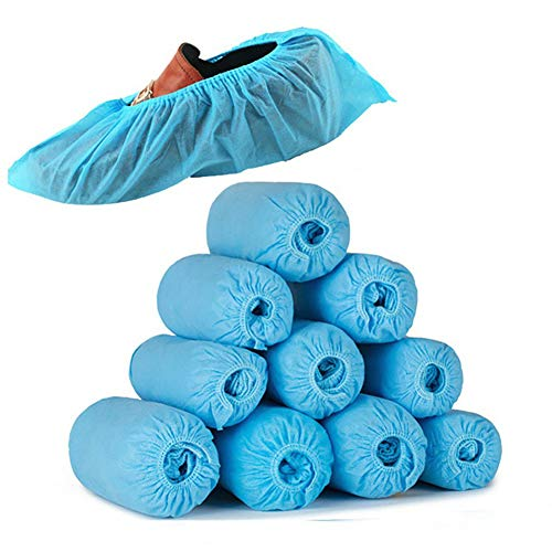 Macabolo Einweg Schuh Abdeckungen, 100 Pack Anti Rutsch Booties Abdeckungen mit elastischen Band für Medizinisches Museum Indoor Teppich Boden
