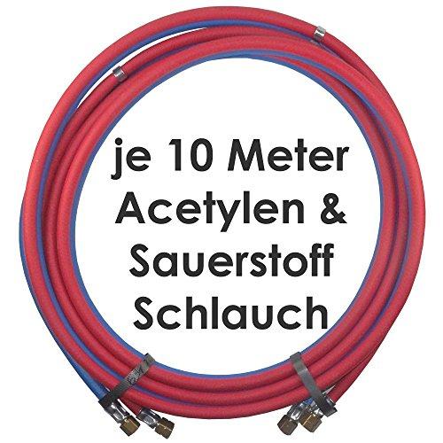 Acetylen Sauerstoff Gasschlauch Zwillingsschlauch 10 Meter - Profi Gummischlauch zum autogen schweißen oder schneiden - Profiqualität von Gase Dopp