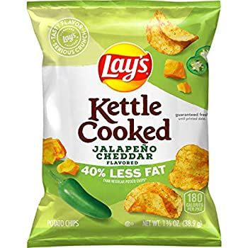 Lay s Kettle Cooked 40% Less Fat Jalapeño Cheddar Flavored Potato Chips 1.375 Ounce  Pack of 64