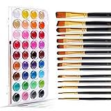 Color Technik - Juego de pinceles para acuarela (36 pasteles de colores vibrantes), 15 pinceles surtidos para acrílico, acuarela, aceite y gouache, calidad de artista, adultos y niños, caja de regalo)