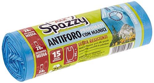 Domopak Spazzy Sacchi Nettezza Antiforo con Manici - Profumato alla Brezza Alpina - Casalingo 28 lt - Azzurro - 15 pz