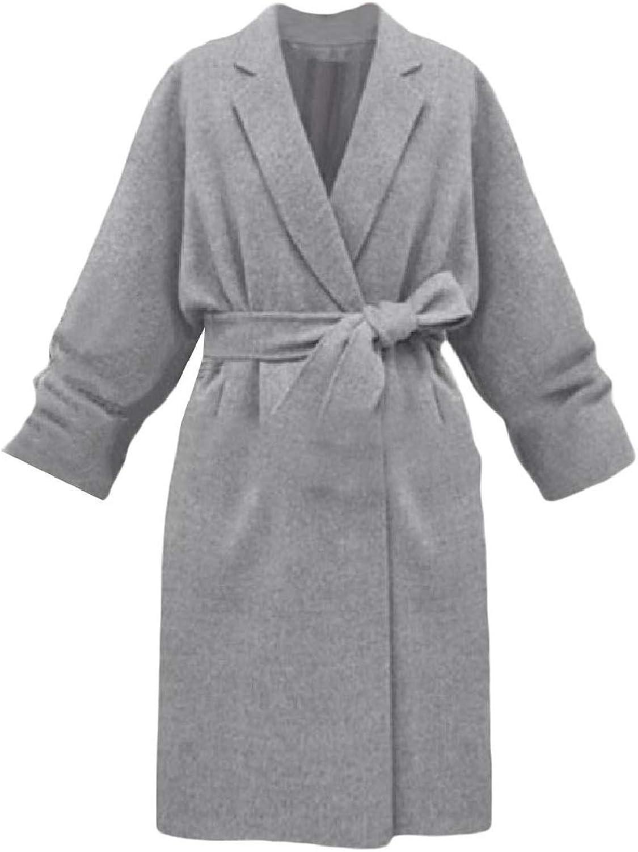 Abetteric Women Slim Fit Fashionable Wool Blended Lapel Open Front Pea Coat