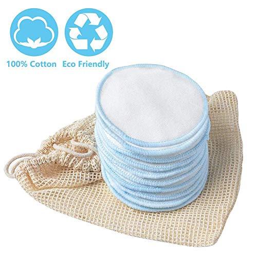Sunflowerany Tampons de démaquillage de Coton réutilisables, Tours de Bambou avec Sac à Linge, Accessoires de Maquillage