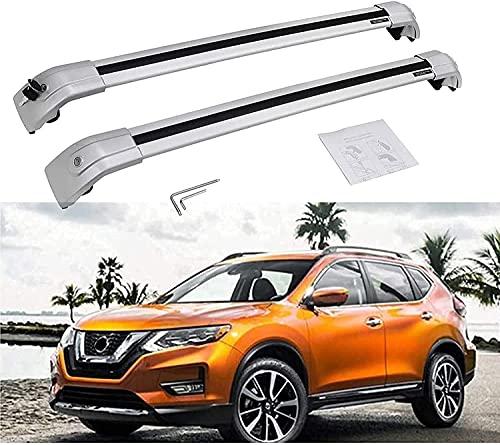 2 Piezas Coche Aluminio Bacas Travesaño para Nissan X-Trail Rogue 2014-2019, Robustos...