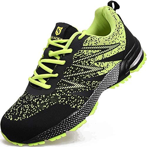 [JACKS HIBO] 安全靴 メンズ 作業靴 スニーカー メッシュ 鋼先芯(JIS H級相当) 通気性抜群 セーフティーシューズ クッション性 耐滑 耐磨耗 防臭 1029 グリーン 39